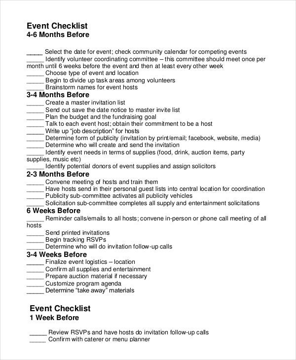 Event Planning Checklist   Free Word Pdf Documents Download