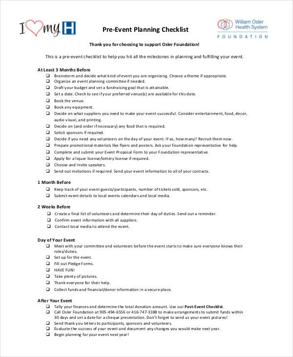 Pre Event Planning Checklist In PDF