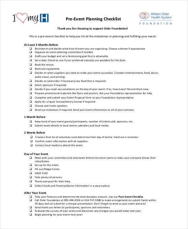 event checklist template - solarfm.tk
