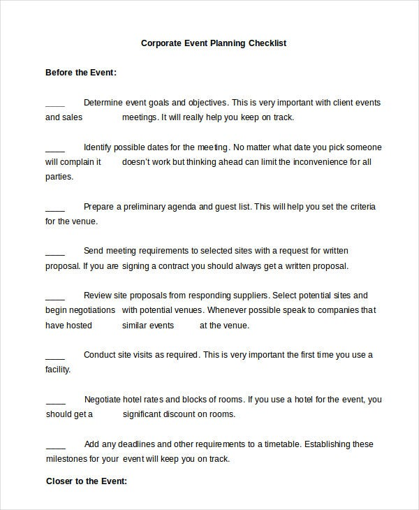 Event Planning Checklist 11 Free Word PDF Documents Download