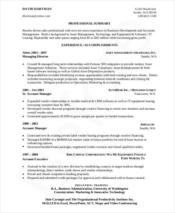 business development resume in pdf - Sample Business Development Resumes
