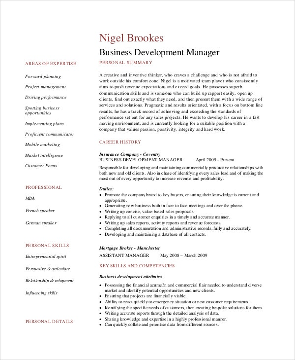 Sample Business Development Manager Resume  Sample Business Resume