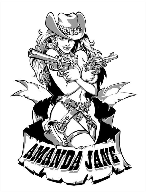 Cowgirl Tattoo Drawing