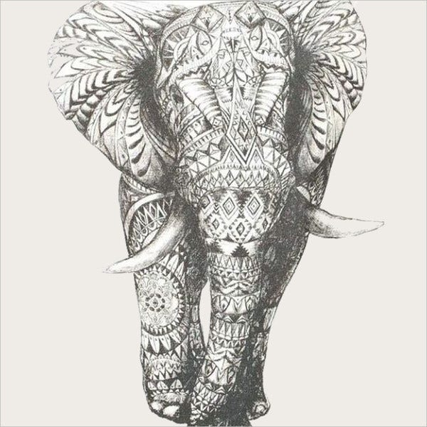 Elephant Tattoo Drawing