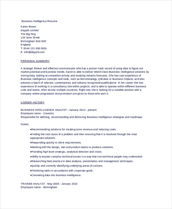 business intelligence resume in word