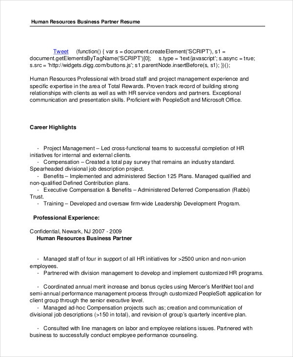hr-business-partner-resume-in-pdf