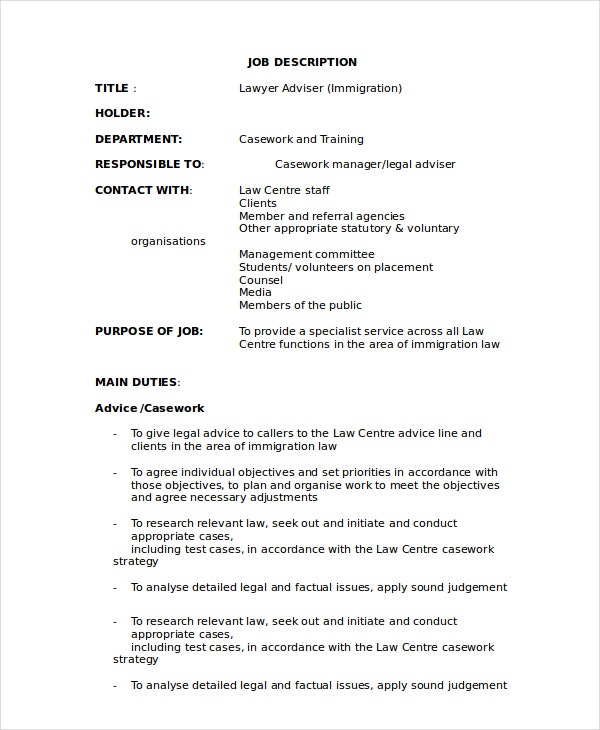 10 sample lawyer job description templates pdf doc for Detailed job description template
