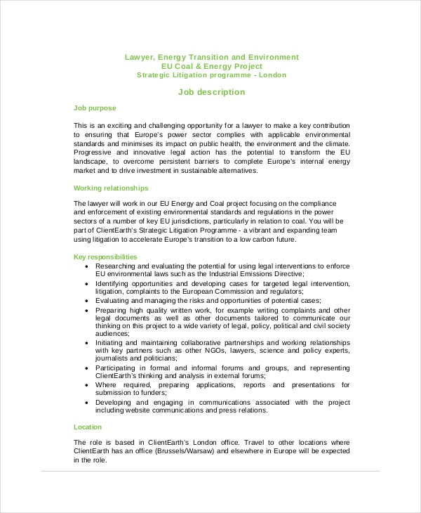 Environmental Lawyer Job Description