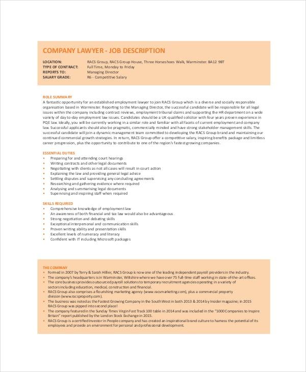 company lawyer job description