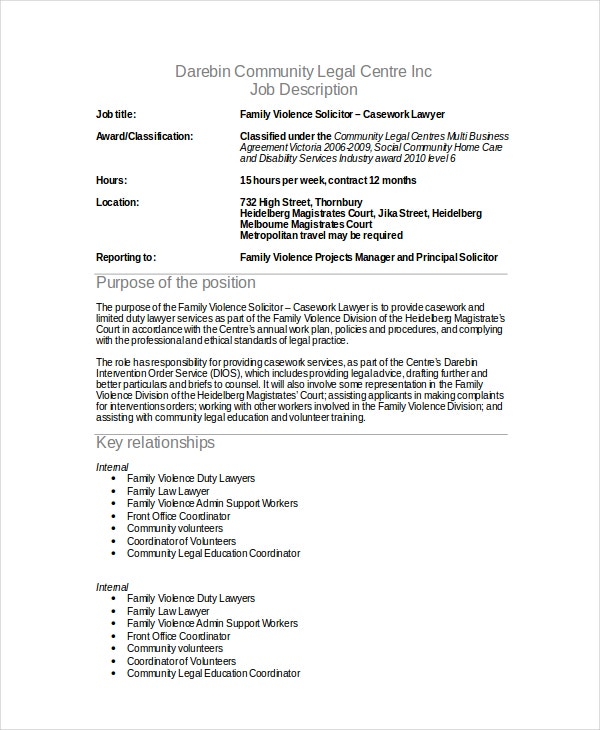 10 sample lawyer job description templates pdf doc - Legal compliance officer job description ...