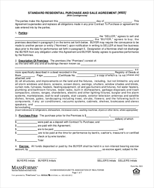 standard purchase agreement template massachusetts  Purchase and Sale Agreement - 10  Free PDF Documents Download | Free ...