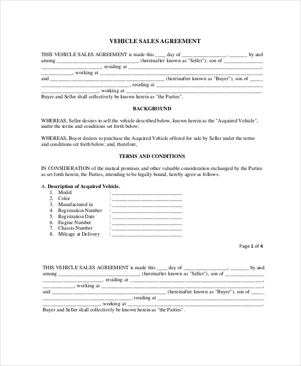 sample vehicle sale agreement template in pdf