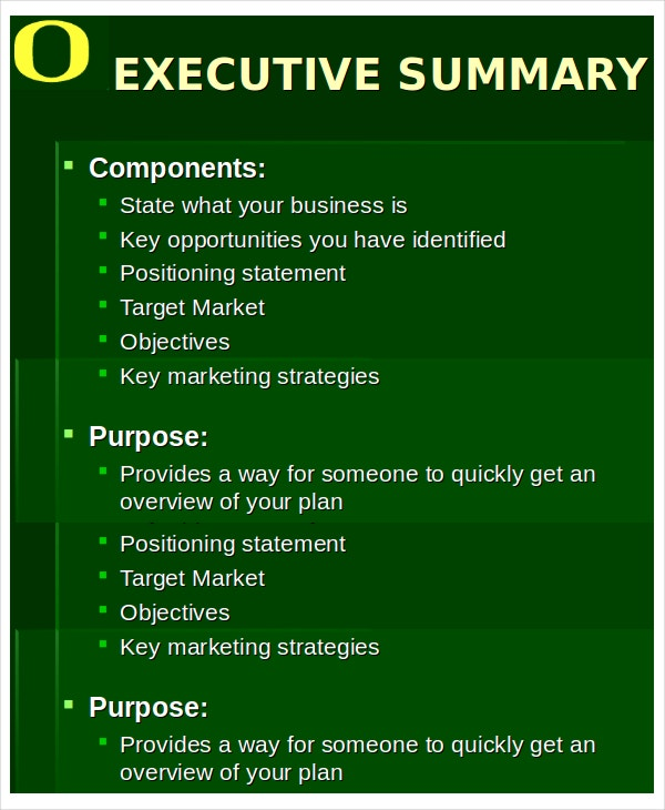 executive summary ppt template
