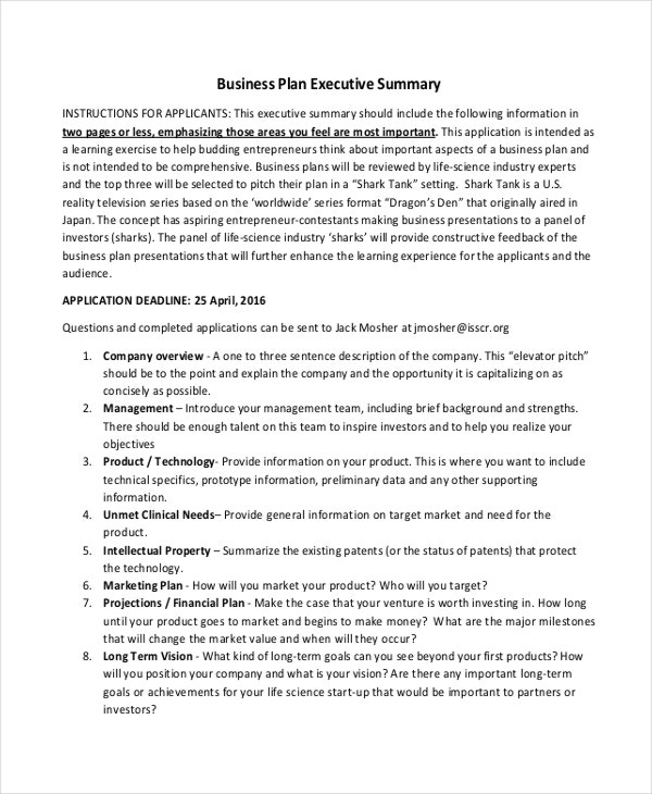 Doc585680 Business Summary Template 31 Executive Summary – 1 Page Executive Summary Template