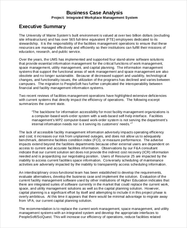 Business Case Analysis Executive Summary Template  Project Executive Summary Template