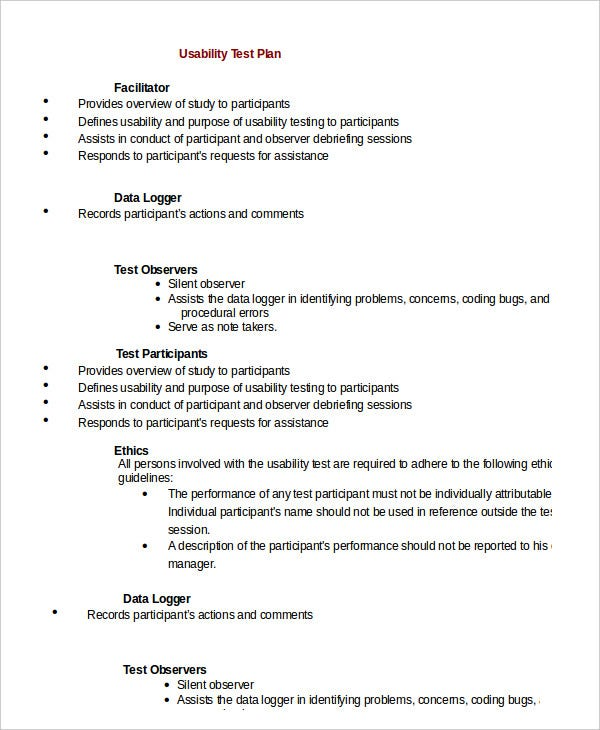 usability test plan template test plan template 11 free word pdf documents download
