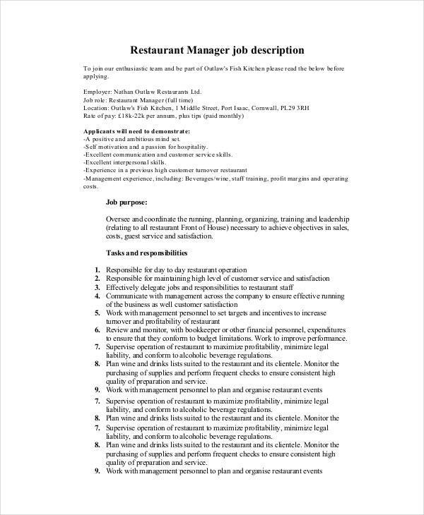 Manager Job Description - 9+ Free Pdf, Word Documents Download
