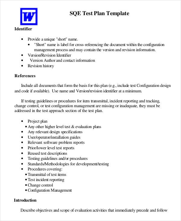 Test plan template 11 free word pdf documents download for Software test policy template