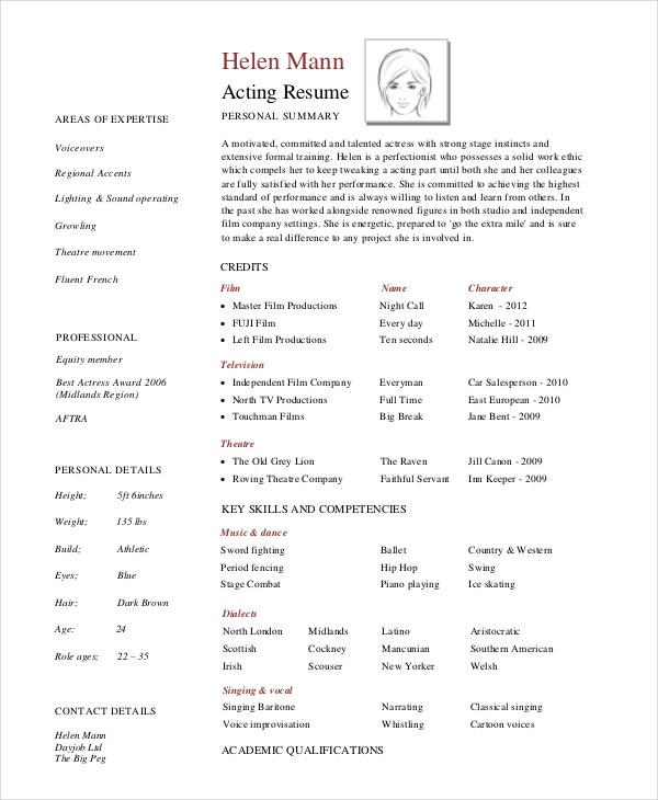 sample professional acting resume - Acting Resume Example