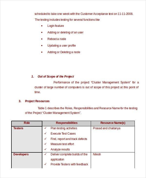 Test plan template 11 free word pdf documents download for Performance testing test plan template