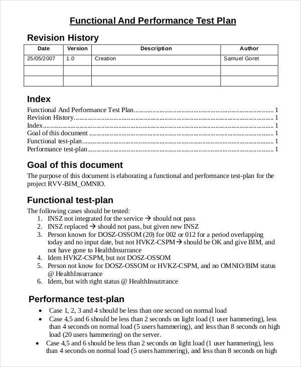 17 test plan templates word excel pdf templates for Performance testing test plan template
