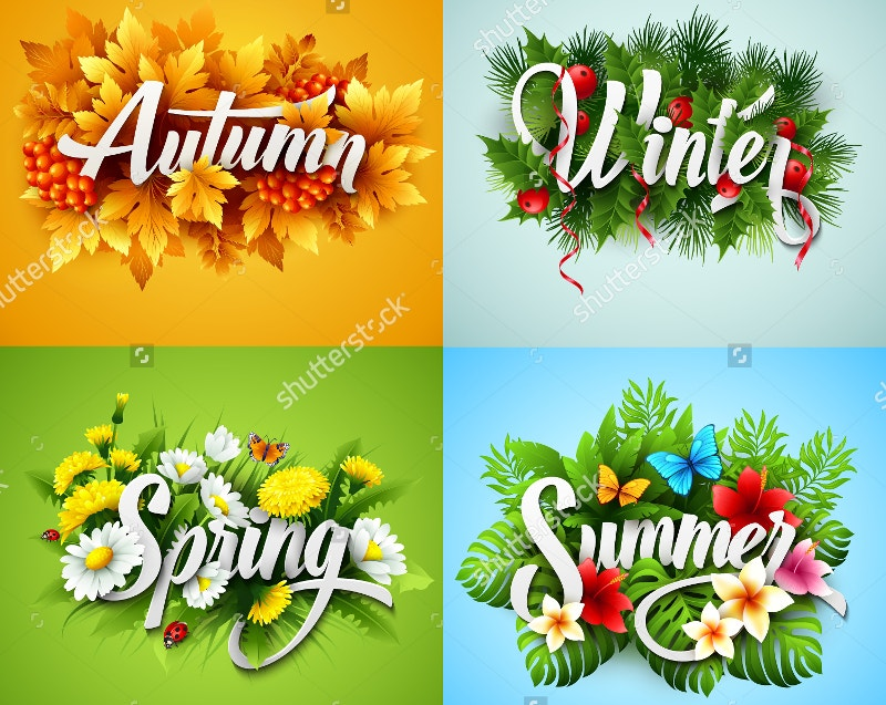 seasons floral typographic style