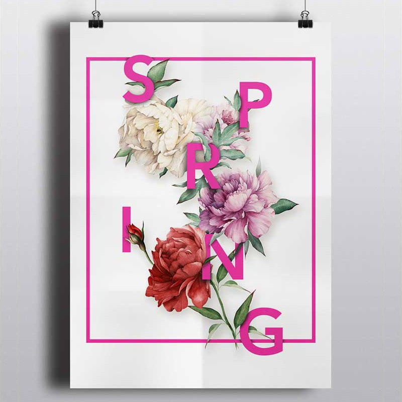 graphic design floral typography