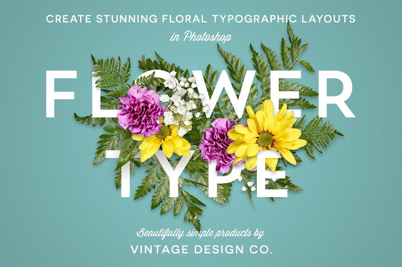 flower typography design for photoshop