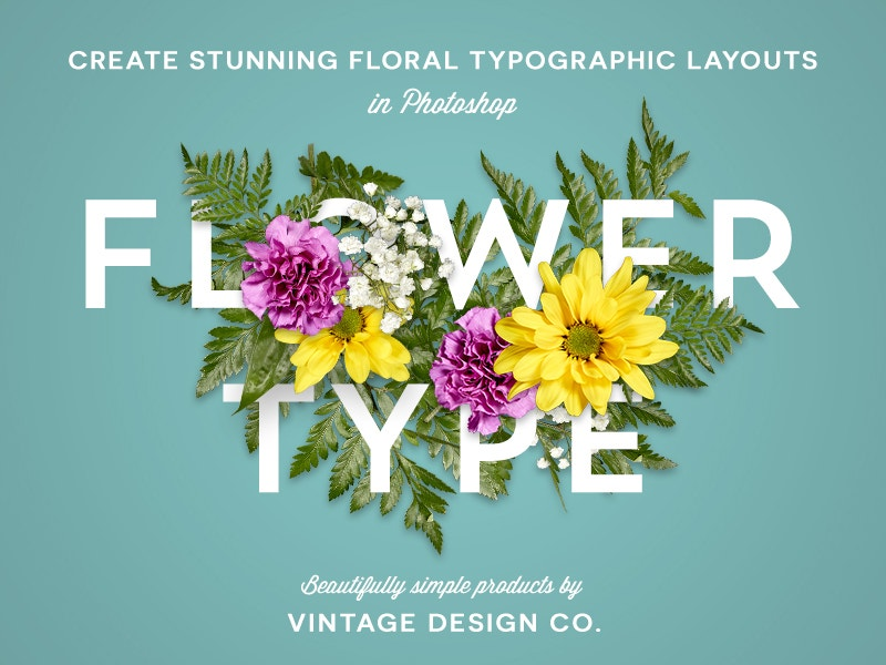 creative layout floral typography