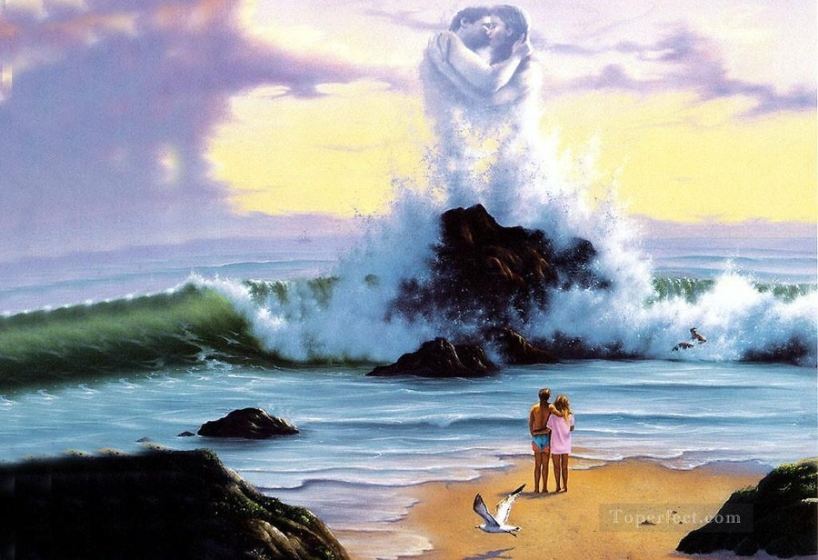 Kissing Waves Fantasy Painting