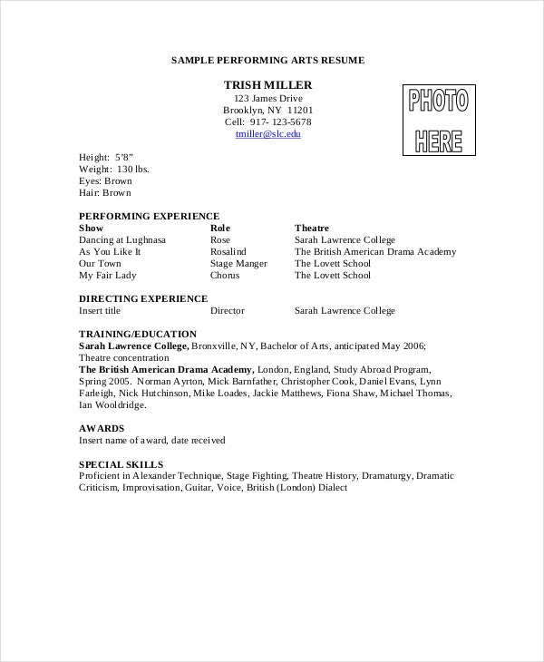 performing arts resume format