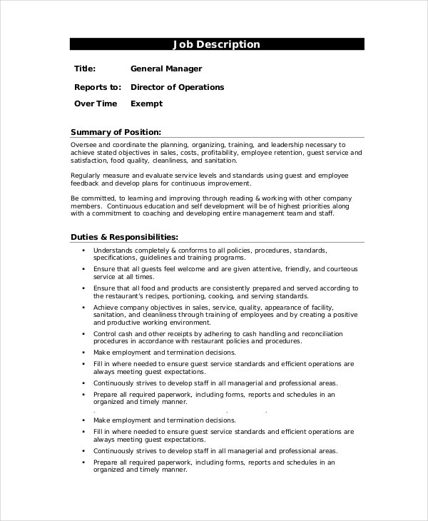 Manager Job Description 9 Free PDF Word Documents Download – General Manager Job Description