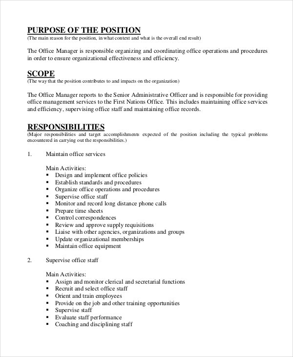 10 sample manager job description templates pdf doc - Office administration executive job description ...