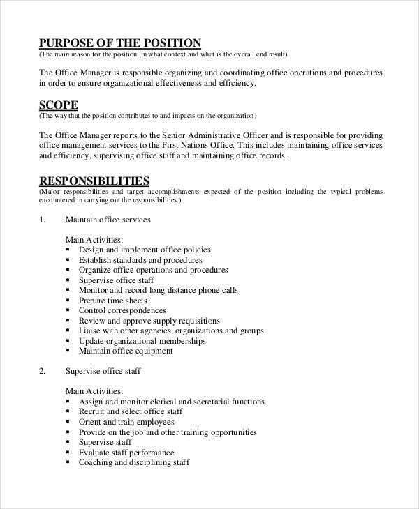 Medical Office Manager Job Description Samples – Medical Office Manager Job Description