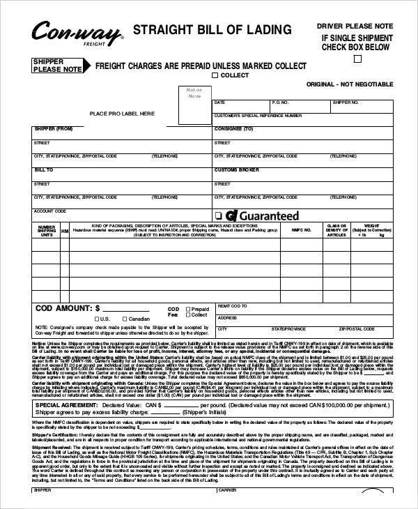 Straight Bill Of Lading Template  Free Bill Of Lading Template
