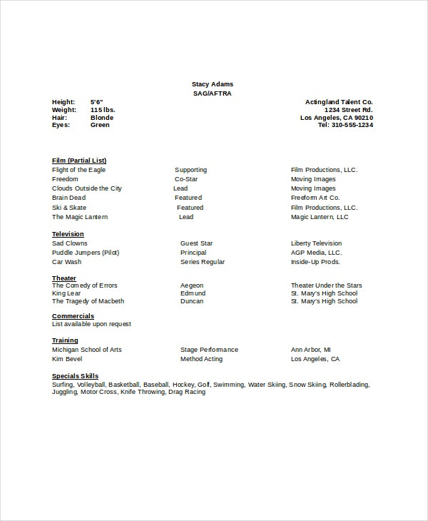 8 acting resumes free sample example format free