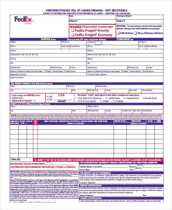 Uniform Straight Bill Of Lading Template  Free Bill Of Lading Template