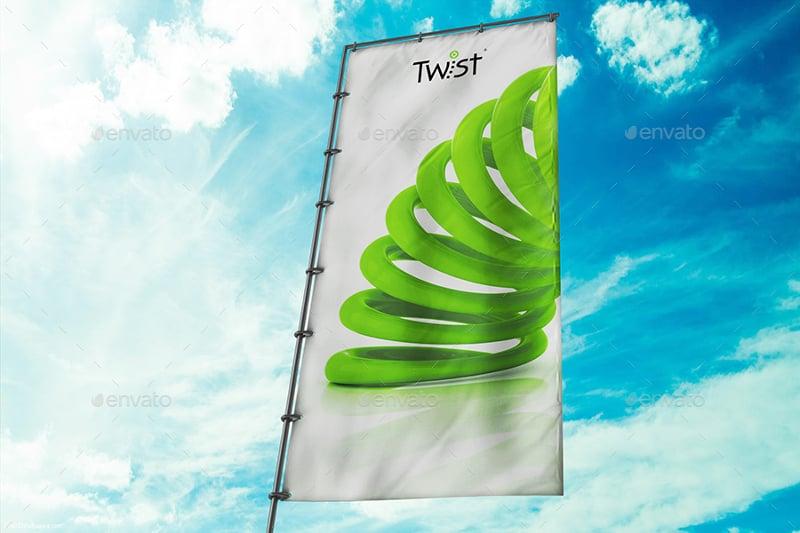 Realistic 3D Flag Banner Mockup
