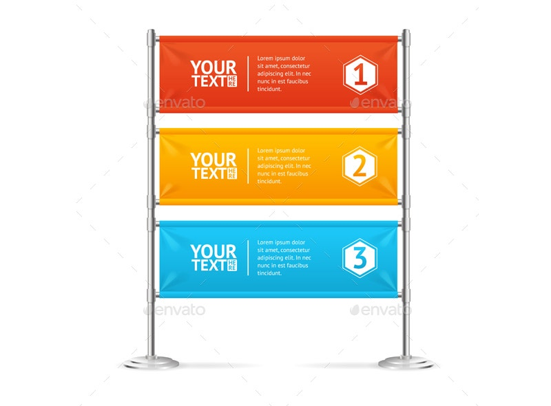 Colorful Horizontal Blank Banner Flag