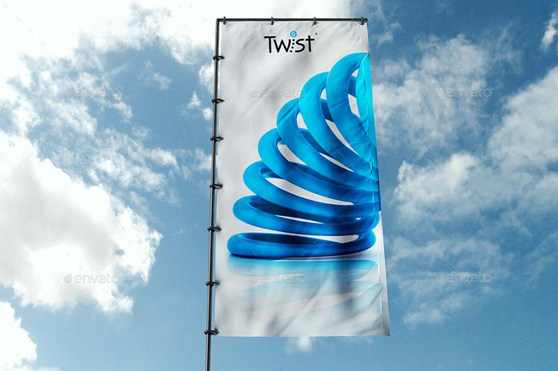 Branding Flag Banner Mockup