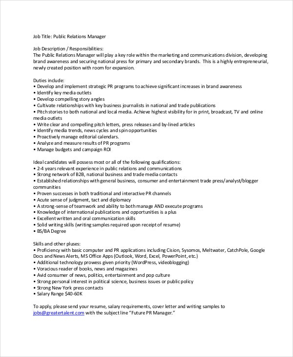 Public Relations Manager Job Description