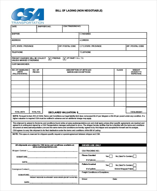 Non Negotiable Bill Of Lading Template  Free Bill Of Lading Template