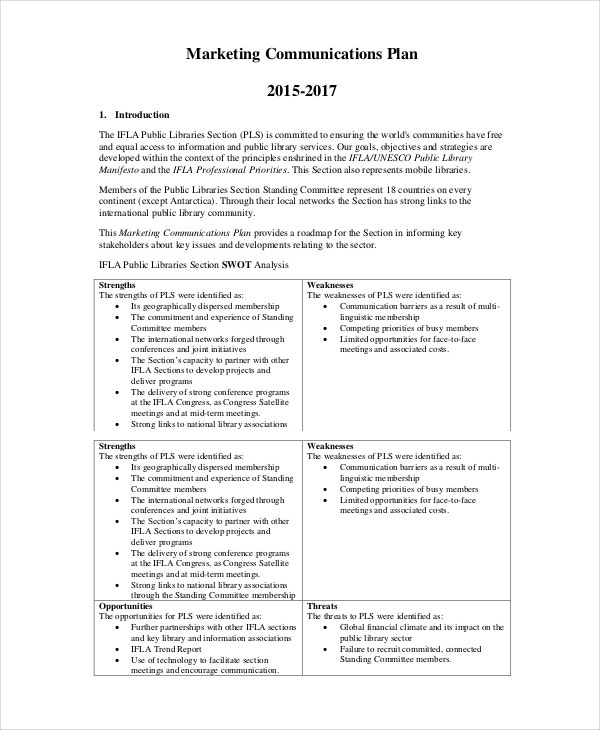Marketing Communication Plan Template in PDF