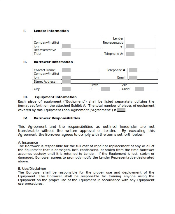 Loan Agreement Template For Equipment