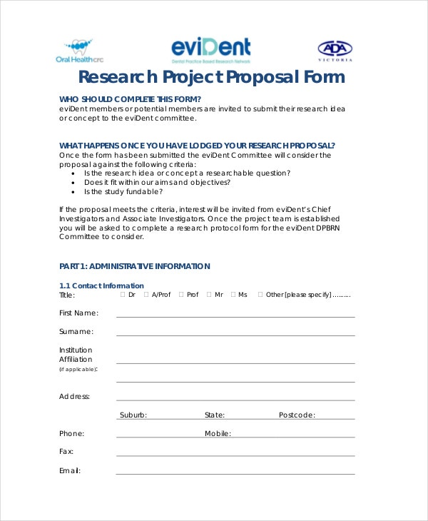 sample research project proposal form template