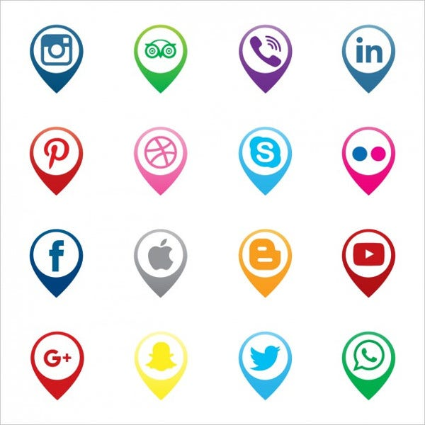 Pins Map Social Media Icon