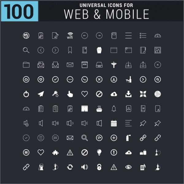 white 100 universal web icon
