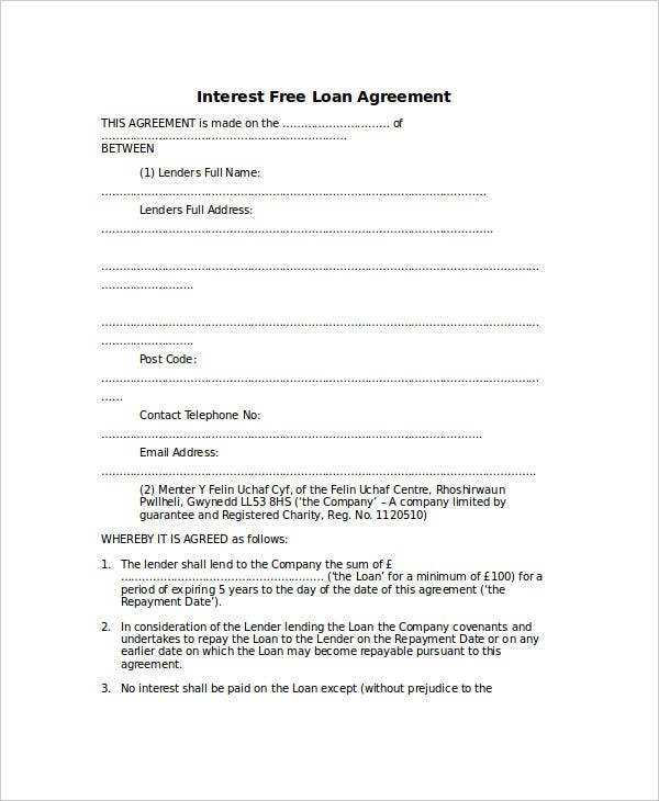 Interest Free Loan Agreement  Free Loan Agreement Template