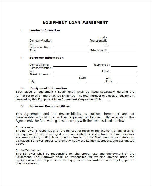Loan Equipment Agreement Template
