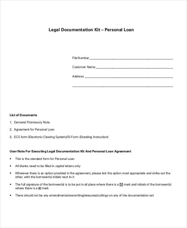 for personal loan agreement template